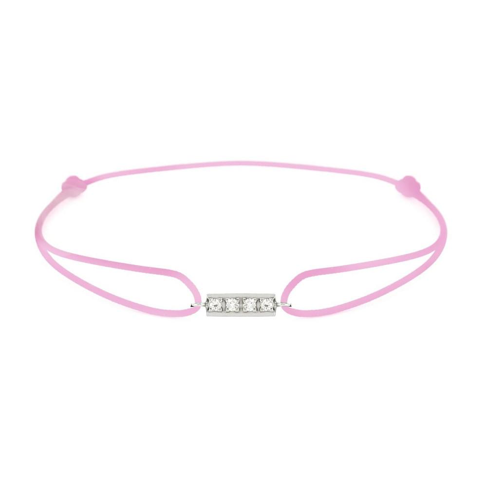 Bracelet barrette diamants Or blanc 750/00 - rose