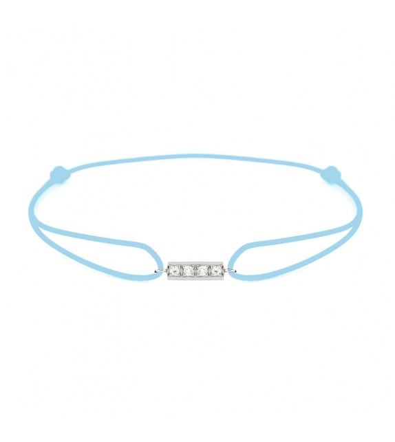 Bracelet barrette diamants Or blanc 750/00 - turquoise
