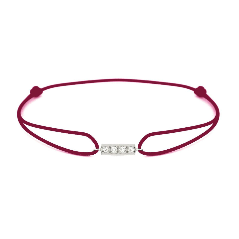 Bracelet barrette diamants Or blanc 750/00 - bordeaux