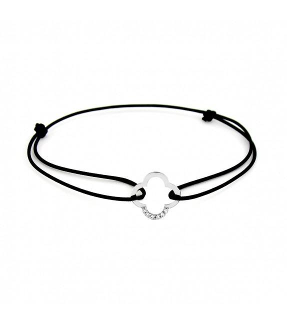 Bracelet trèfle diamants Or blanc 750/00 - noir