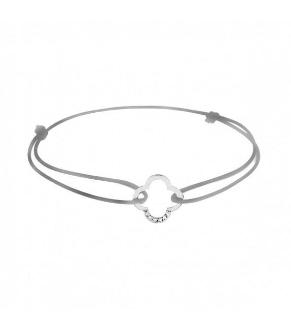 Bracelet trèfle diamants Or blanc 750/00 - gris