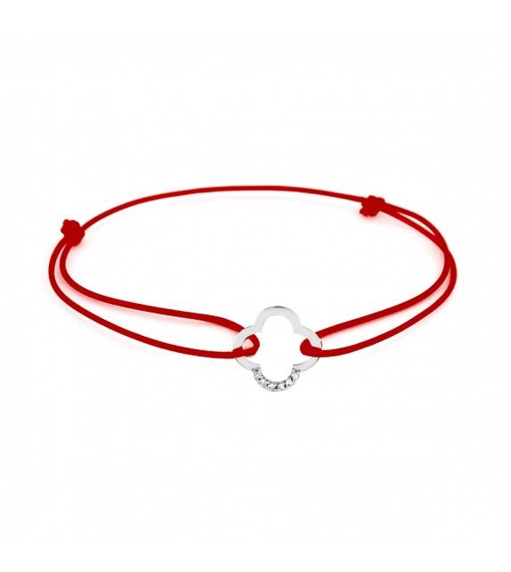 Bracelet trèfle diamants Or blanc 750/00 - rouge