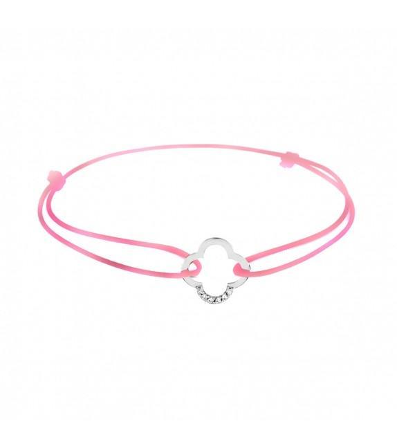 Bracelet trèfle diamants Or blanc 750/00 - rose