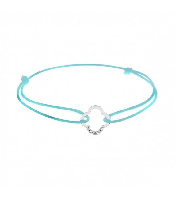 Bracelet trèfle diamants Or blanc 750/00 - turquoise
