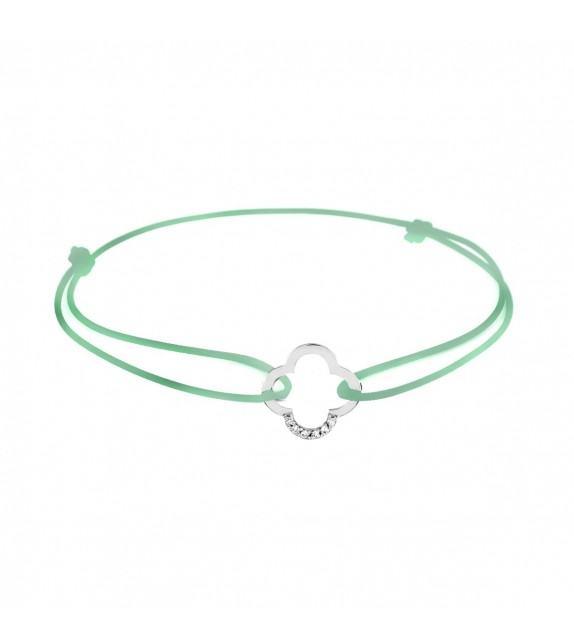 Bracelet trèfle diamants Or blanc 750/00 - vert d'eau