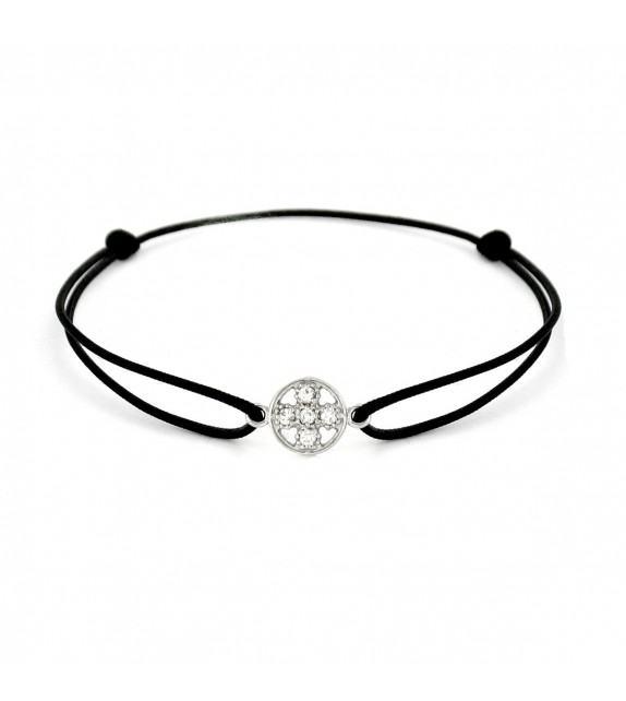 Bracelet croix diamants Or blanc 750/00 - noir