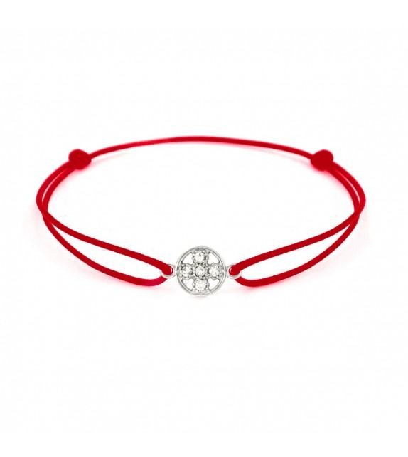 Bracelet croix diamants Or blanc 750/00 - rouge