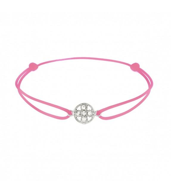 Bracelet croix diamants Or blanc 750/00 - rose