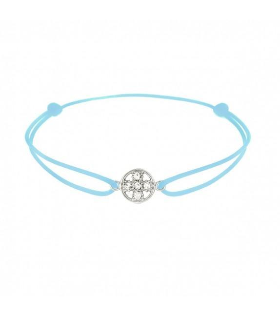 Bracelet croix diamants Or blanc 750/00 - turquoise