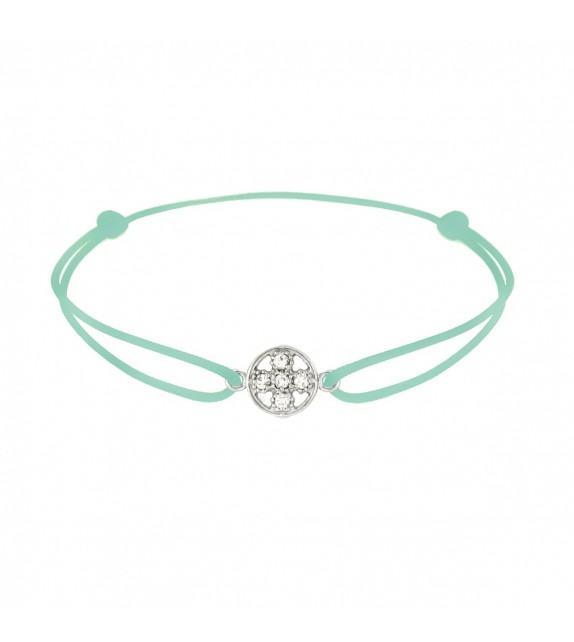 Bracelet croix diamants Or blanc 750/00 - vert d'eau