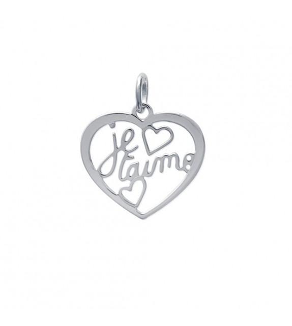 """Pendentif cœur ajouré \""""Je t'aime\"""" Argent 925/00"""