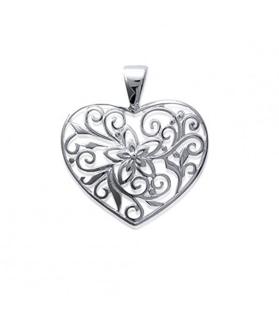 Pendentif cœur ajouré motifs arabesque Argent 925/00 rhodié