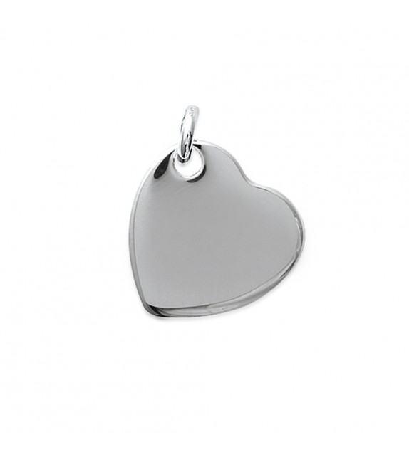 Pendentif cœur lisse Argent 925/00 rhodié