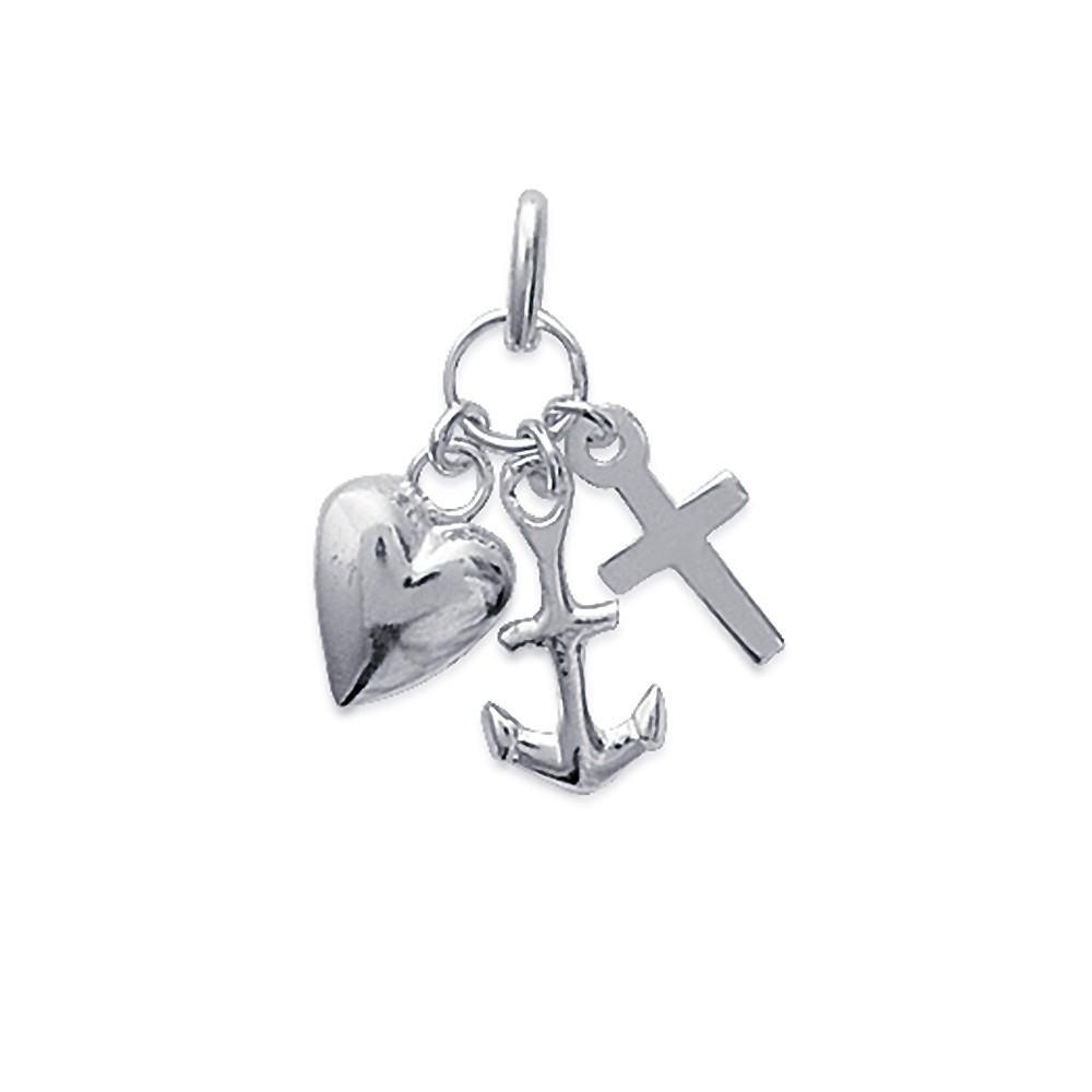 Pendentif Charms cœur croix et ancre Argent 925/00