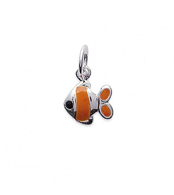 Pendentif poisson email orange Argent 925/00