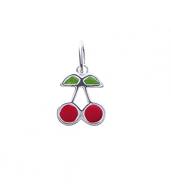 Pendentif cerise emaillé rouge et vert Argent 925/00