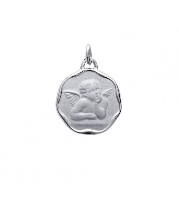 Médaille ange heptagonale Argent 925/00