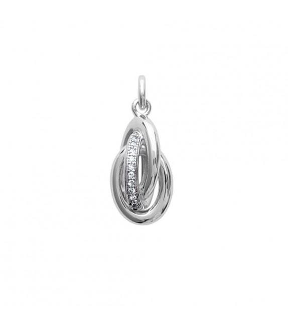 Pendentif anneaux entrelacés empierrés Argent 925/00 rhodié