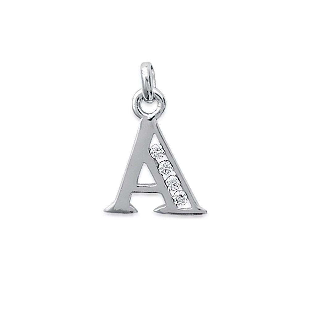 Pendentif lettre empierré A avec oxydes de zirconium Argent 925/00 rhodié
