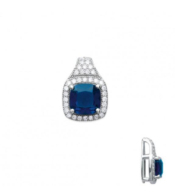 Pendentif pavé oxyde de zirconium bleu Argent 925/00 rhodié