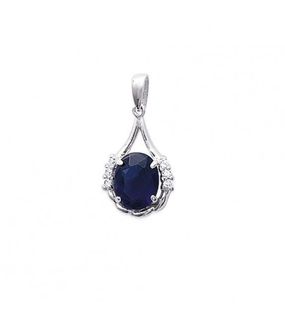 Pendentif marquise oxyde de zirconium bleu Argent 925/00 rhodié