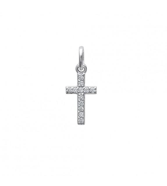 Pendentif croix pavé oxyde de zirconium Argent 925/00 rhodié