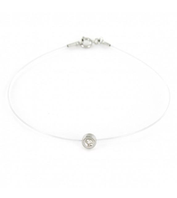 Bracelet diamant solitaire Or blanc 750/00 sur fil transparent