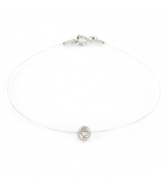 Bracelet diamant solitaire Or blanc 750/00 sur fil transparent