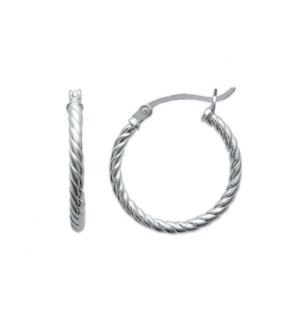 Boucles d'oreilles créoles torsadées 20 mm Argent 925/00
