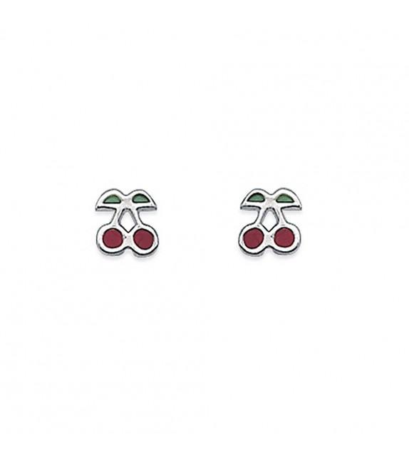 Boucles d'oreilles cerises rouges Argent 925/00