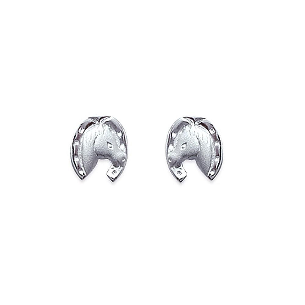 Boucles d'oreilles tête et fer à cheval Argent 925/00