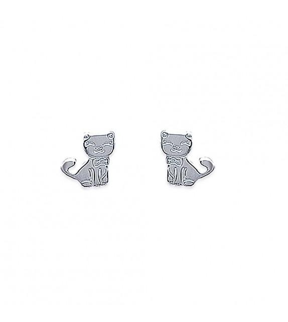 Boucles d'oreilles chat Argent 925/00