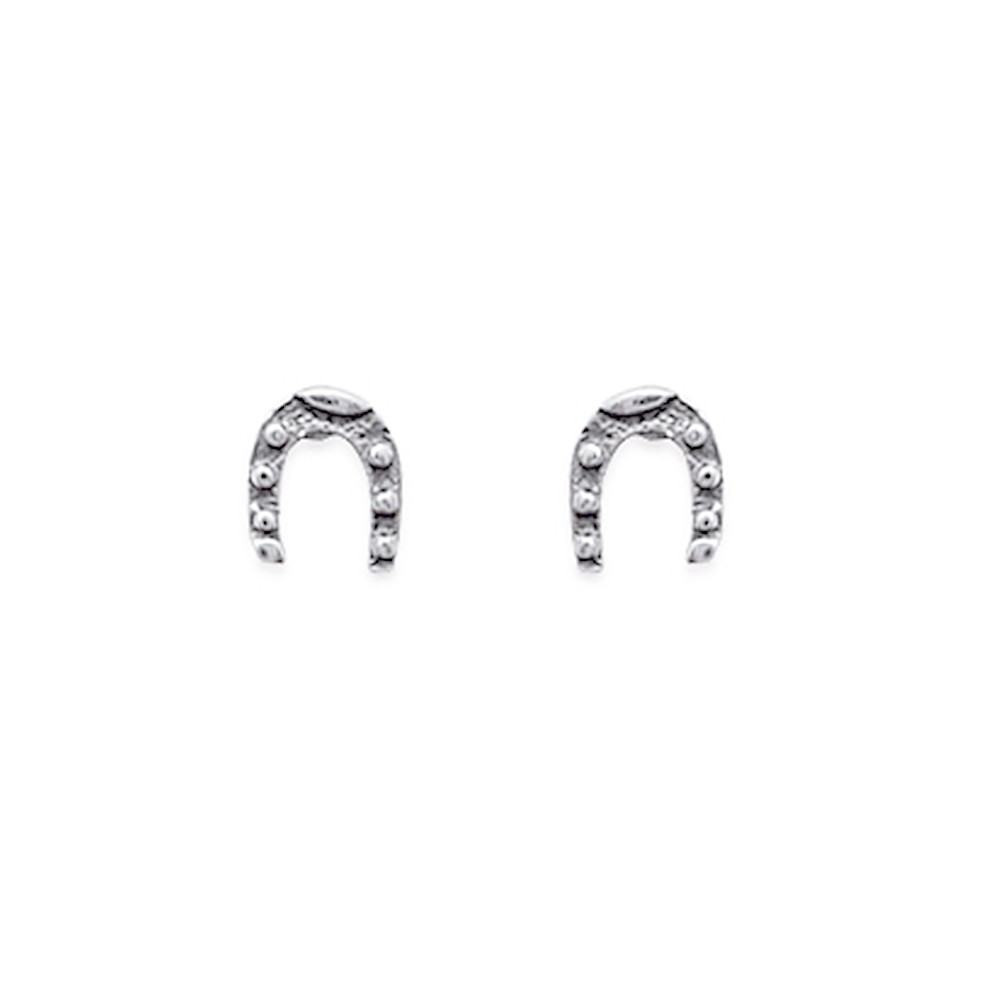 Boucles d/'oreilles puces en argent massif 925//1000 cheval ciselé