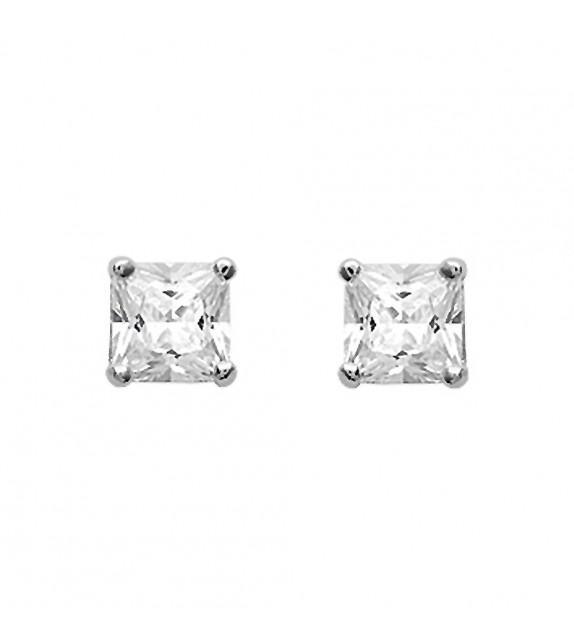 Boucles d'oreilles puces princesse Argent 925/00 et zircons
