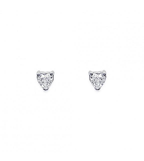 Boucles d'oreilles puces 3 griffes coeur Argent 925/00 et zircons