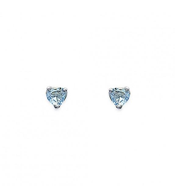 Boucles d'oreilles puces 3 griffes coeur Argent 925/00 et zircons bleus