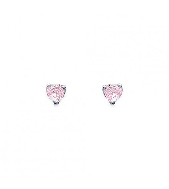Boucles d'oreilles puces 3 griffes coeur Argent 925/00 et zircons roses