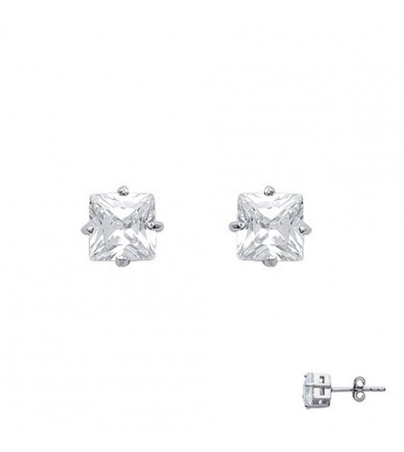 Boucles d'oreilles puces carrées 4 griffes Argent 925/00 et zircons