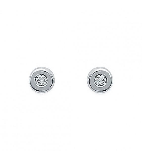 Boucles d'oreilles puces serties clos Argent 925/00 et zircons