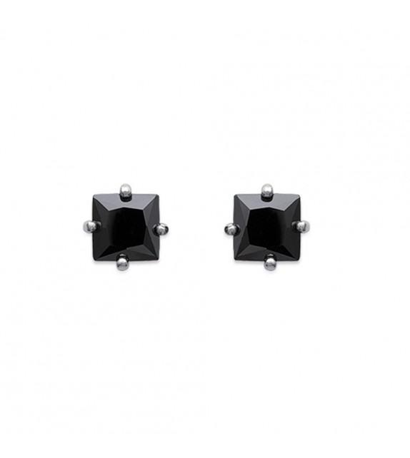 Boucles d'oreilles puces carrées 4 griffes Argent 925/00 et zircons noirs