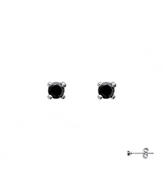 Boucles d'oreilles puces 4 griffes Argent 925/00 et zircons noirs