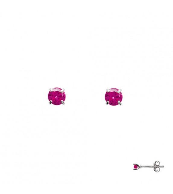 Boucles d'oreilles puces 4 griffes Argent 925/00 et oxydes fuschia