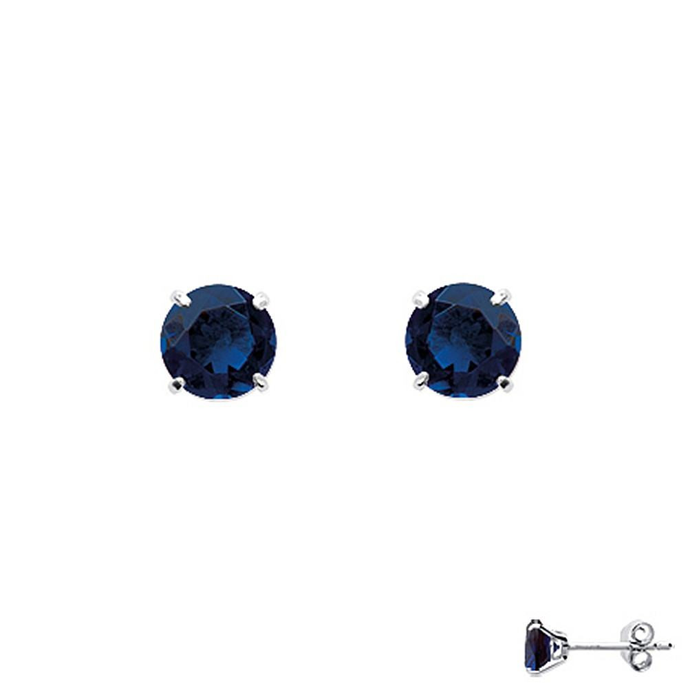 Boucles d'oreilles puces 4 griffes Argent 925/00 et oxydes bleus