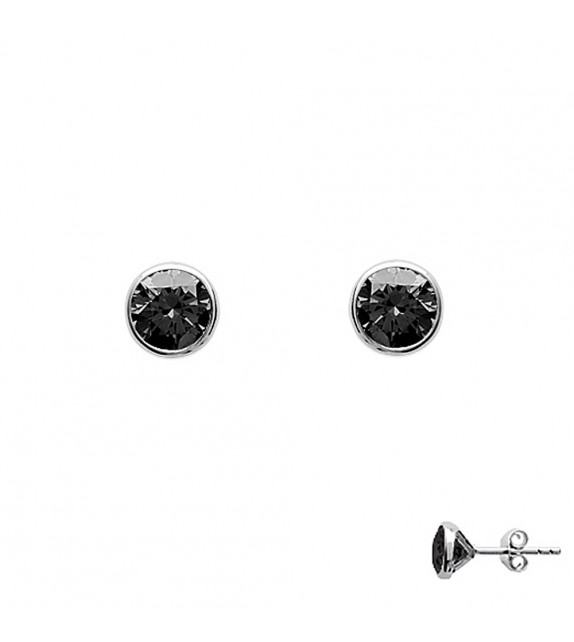 Boucles d'oreilles puces serties clos Argent 925/00 et zircons noirs