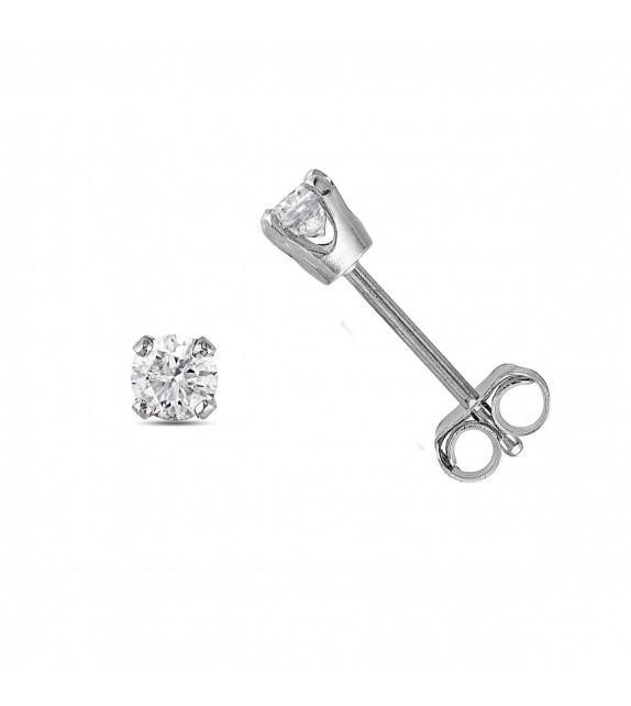 Boucles d'oreilles puces 4 griffes diamants Or blanc 750/00