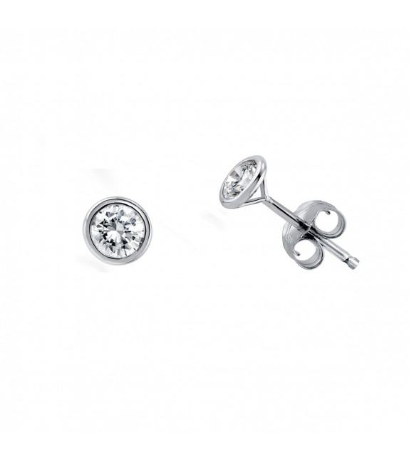 Boucles d'oreilles puces serti clos diamants Or blanc 750/00