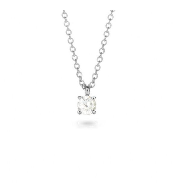Collier solitaire 4 griffes diamant et Or blanc 750/00