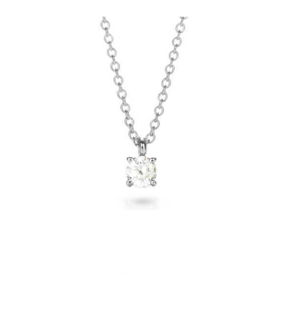 Collier solitaire 4 griffes diamant et Or blanc 750/00