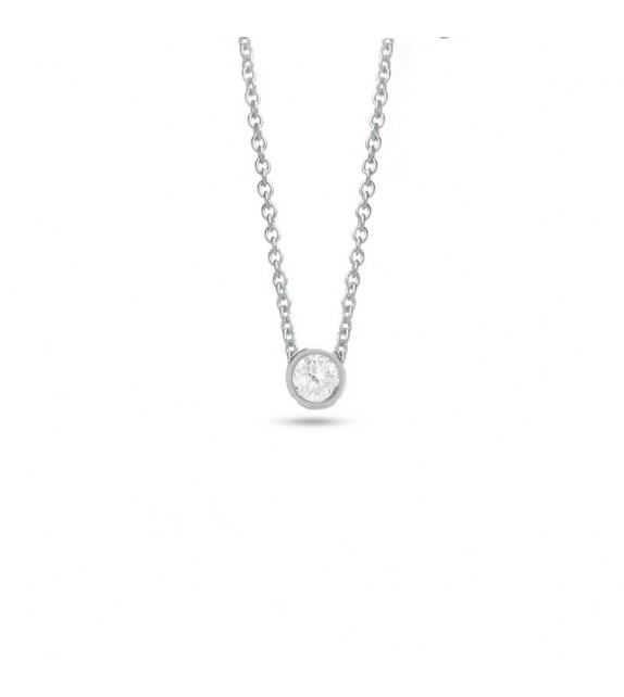 Collier solitaire diamant serti clos et Or blanc 750/00