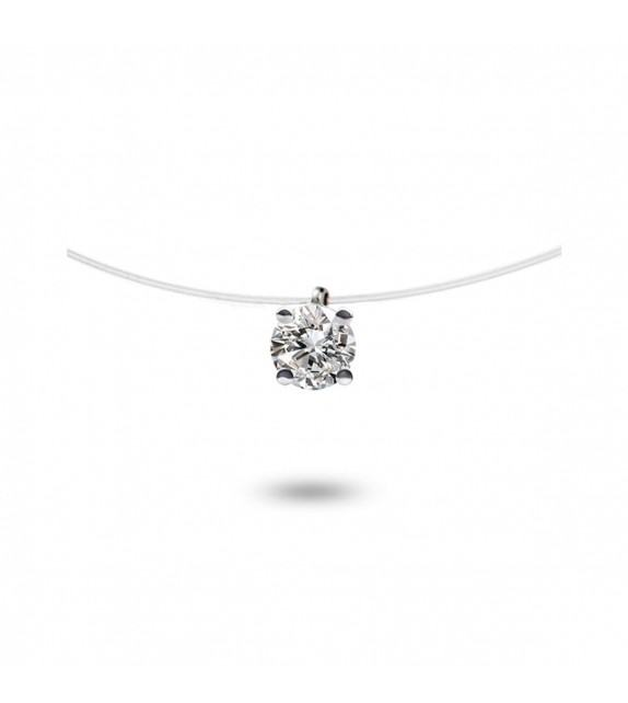Collier diamant solitaire Or blanc 750/00 sur fil nylon